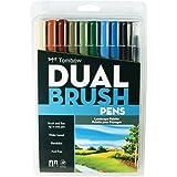 トンボ鉛筆 筆ペン デュアルブラッシュペン ABT ランドスケープ 10本セット AB-T10CLA