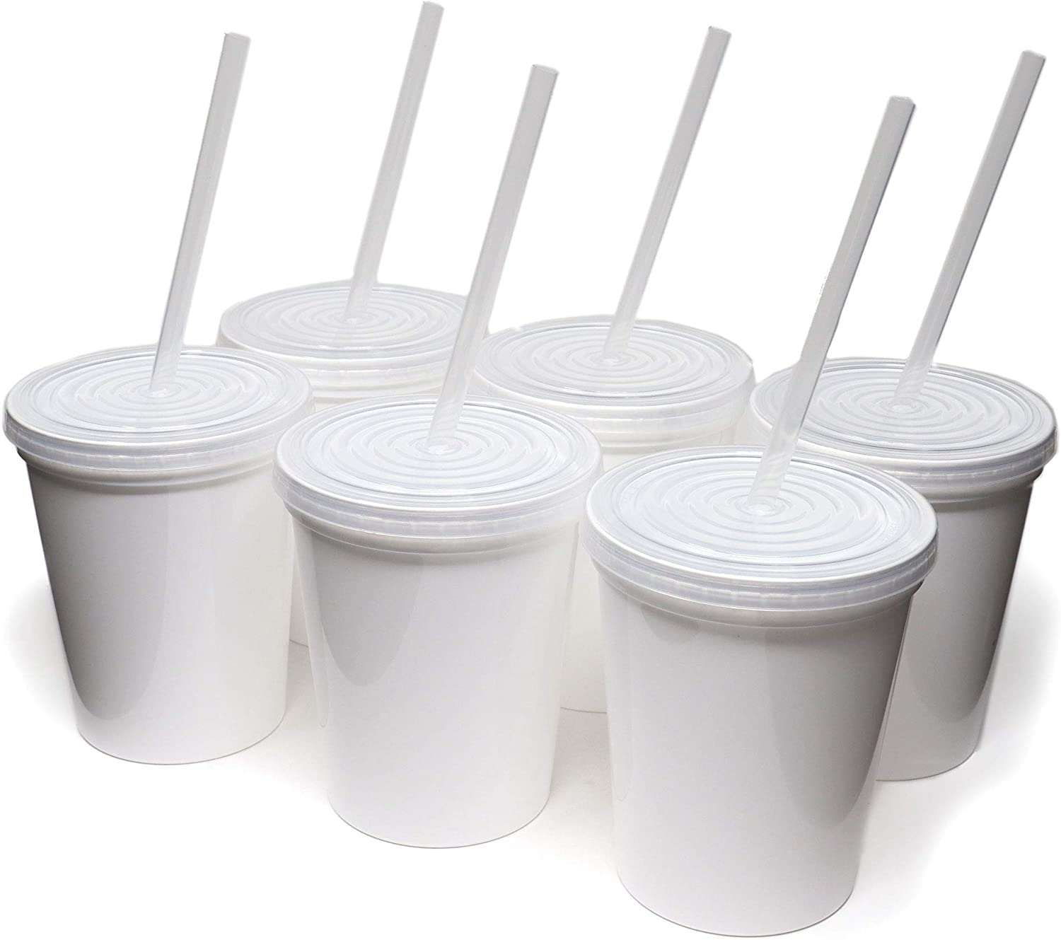 Rolling Sands 16oz Reusable Plastic Stadium White Cups with Lids, 6 Pack, USA Made; Plastic Tumblers and Lids, Includes 6 Reusable Straws; Top Shelf Dishwasher
