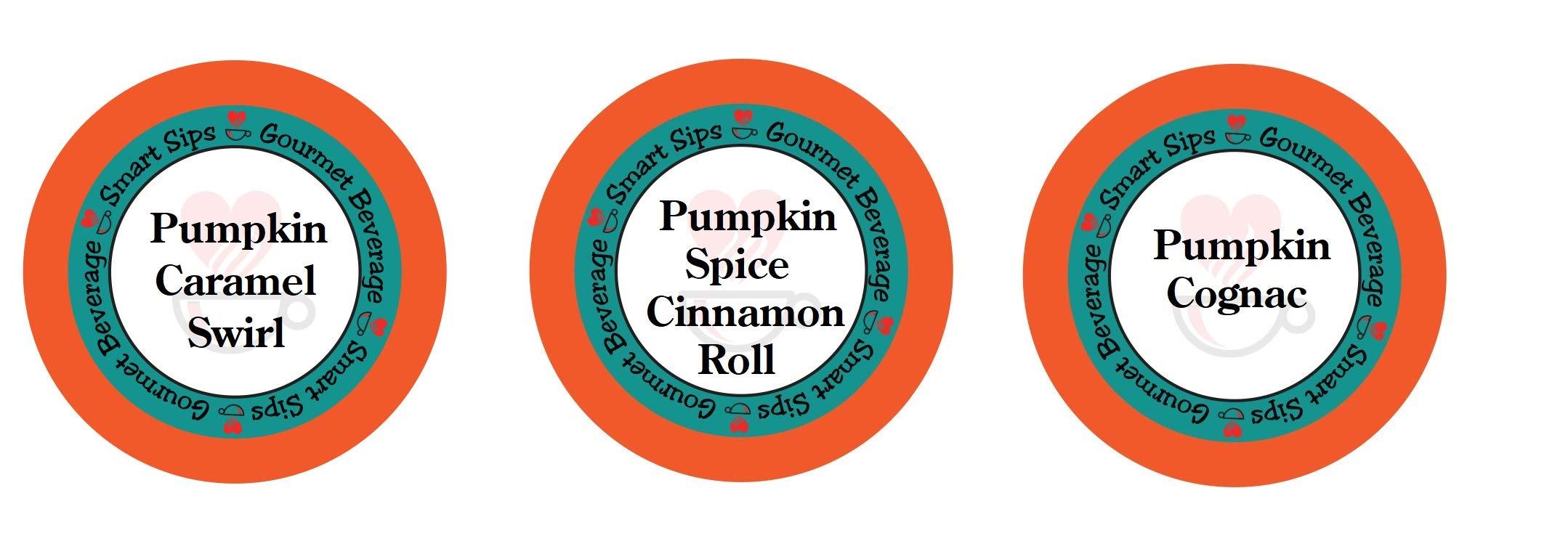 Smart Sips, Pumpkin Lovers Variety Sampler Pack- Pumpkin Spice Cinnamon Roll, Pumpkin Caramel Swirl, Pumpkin Cognac - for All Keurig K-cup Machines by Smart Sips Coffee