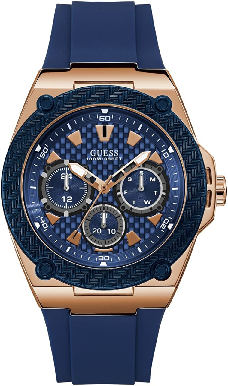 GUESS Men s Stainless Steel Casual Silicone Watch