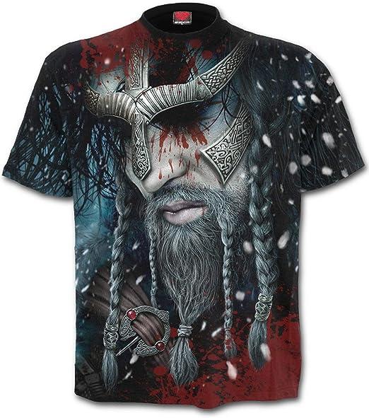 Spiral Direct Hombre Vikingo Tiras Integral Camiseta Negra - Negro ...