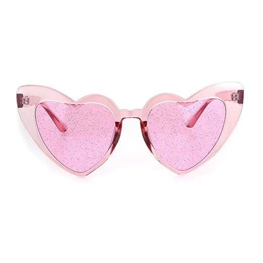 3a1c4cac11b92 Womens Glitter Lens Heart Shape Plastic Valentine Cat Eye Sunglasses All  Pink
