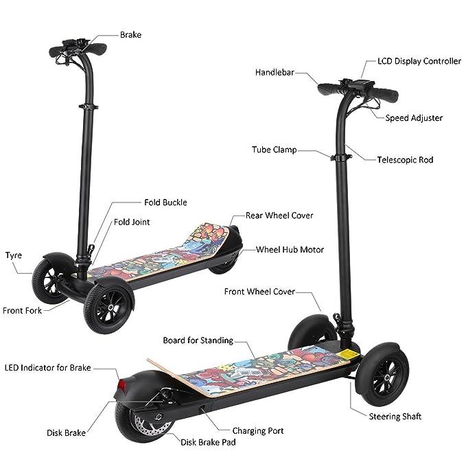 Lonlier Scooter Freestyle Patinete Eléctrico Tres Ruedas Altura de Manillar Ajustable para Adultos/Niños: Amazon.es: Ropa y accesorios