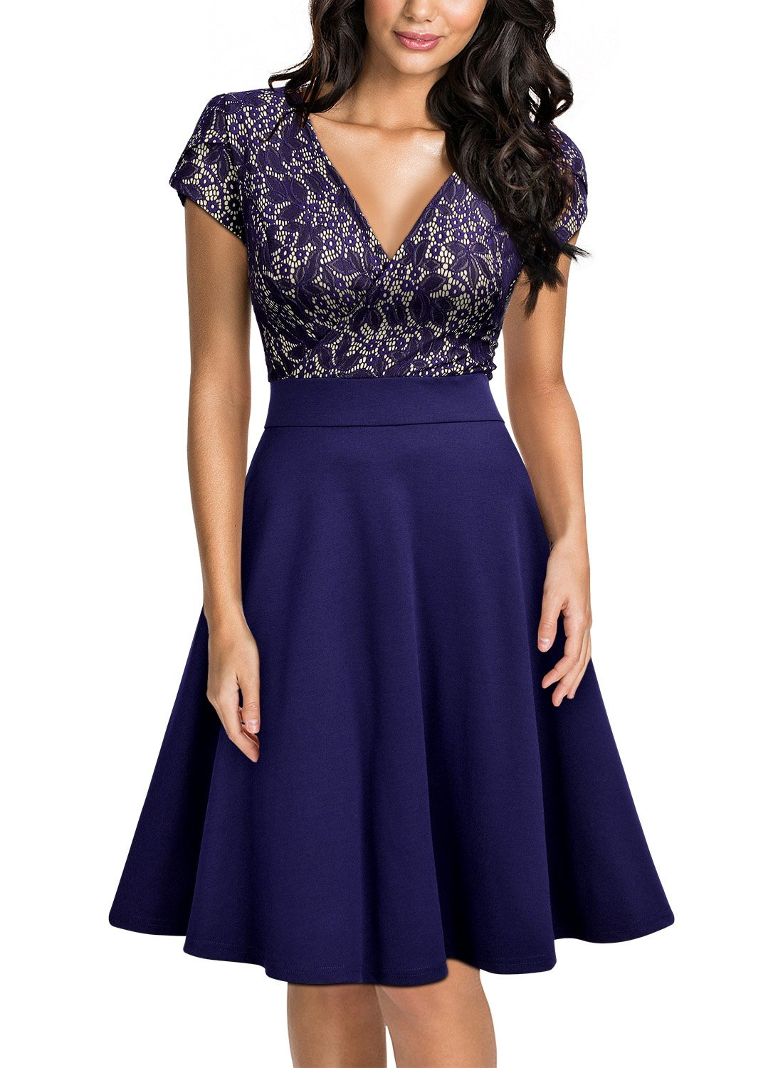 Miusol Women's Elegant Floral Lace V-Neck Contrast Cocktail Party Dress,Blue,X-Large