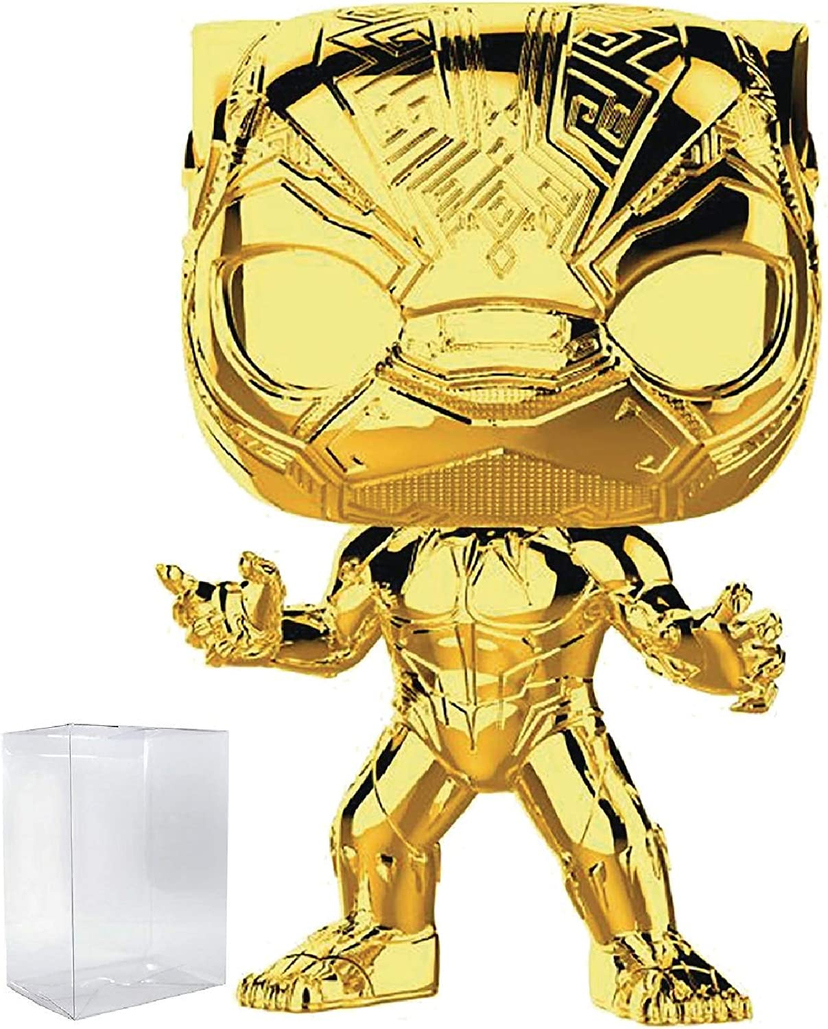 Marvel Studios 10th Anniversary - Black Panther (Gold Chrome) Funko Pop! Vinyl Figure (Includes Compatible Pop Box Protector Case)