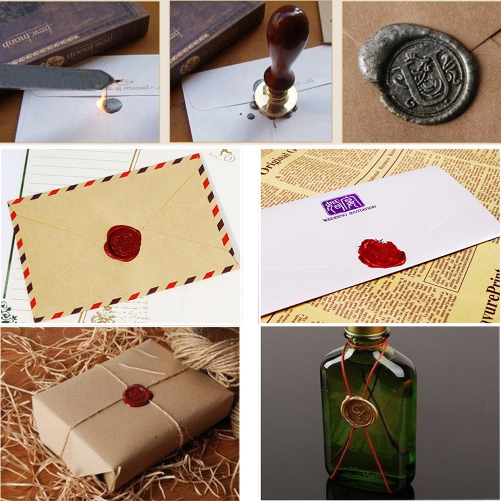 Mogoko 3 Pack Set Sigilli Kit per Lettera Personalizzata Vintage Timbri Decorativi Personali REGALO SET (3 Motivi:With Love+ Happy Birthday+ Thank you)