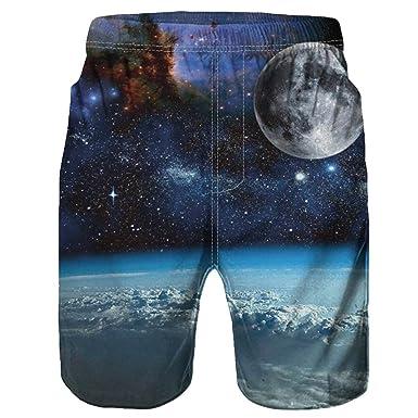 c5df246ae4 ZhixiaYS Men's 3D Graffiti Print Casual Shorts Beach Pants Slim Fit Quick  Dry Short Swim Trunks