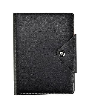 Arpan - Agenda personal, A5, cuaderno de renglones y tapas acolchadas con botón de cierre a presión, color negro A5