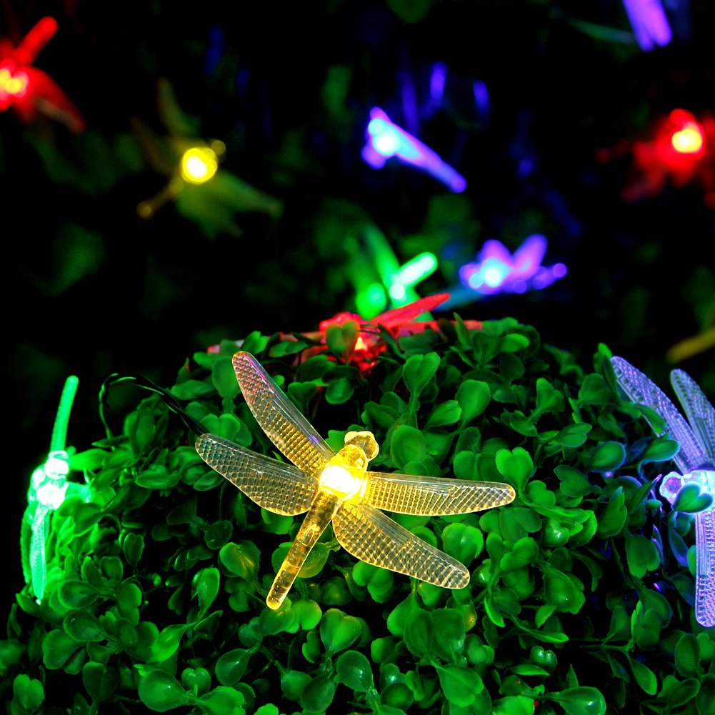 Amazon.com : CYLAPEX LED Solar String Lights Outdoor, Multicolor Dragonfly  20 LEDs 16feet Waterproof With 8 Modes, Christmas Lighting For Outdoor,  Home, ...