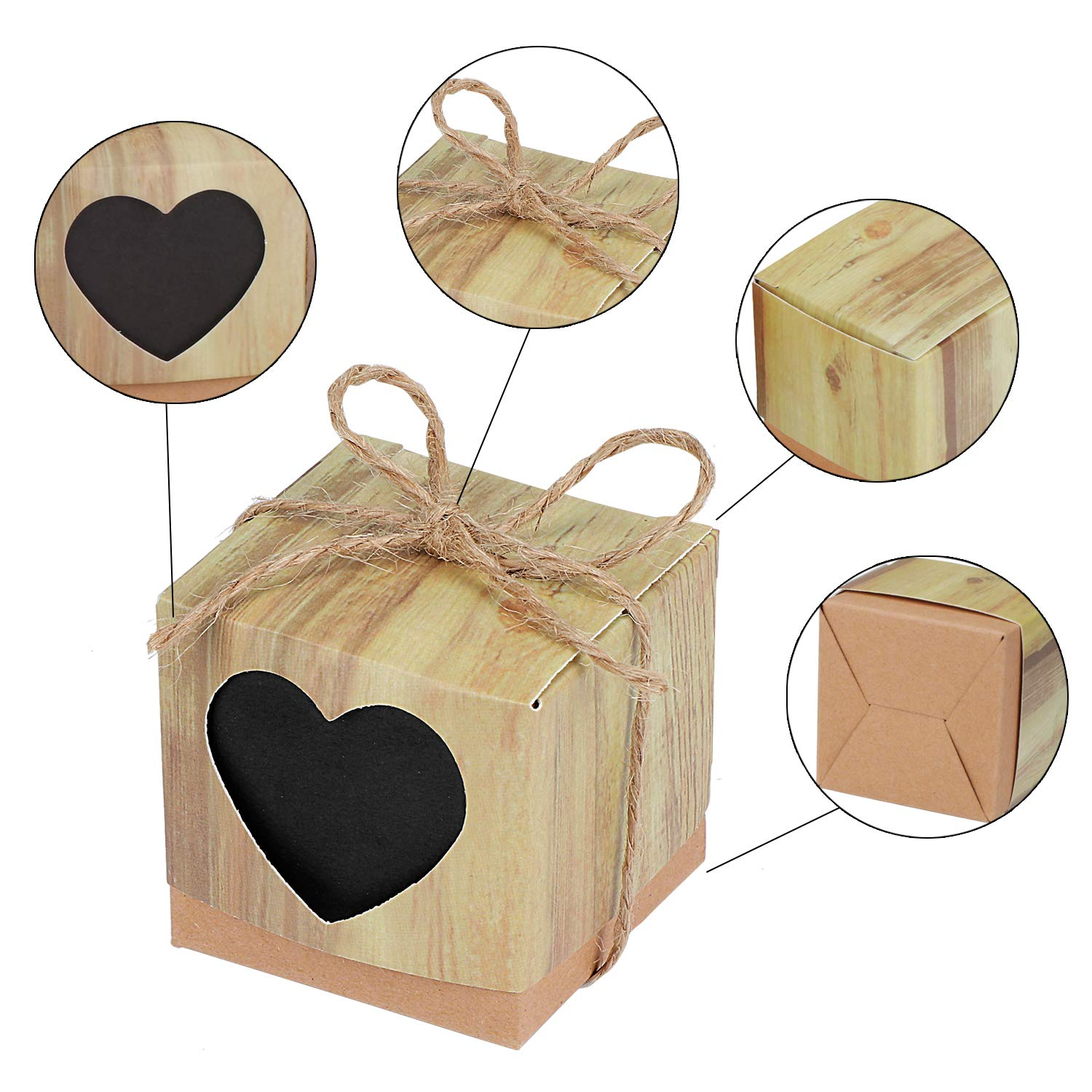 50-Pack TsunNee Kraft Paper Candy Box Rustic Paper Treat Boxes Natural Love Heart Gift Box Sweet Wedding Favour Boxes