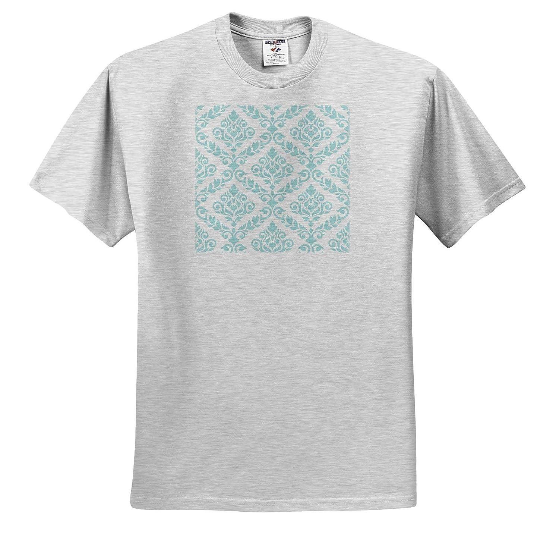 - T-Shirts Prima Damask 3dRose Natalie Paskell Prima Damask Pattern in Light Teal on White
