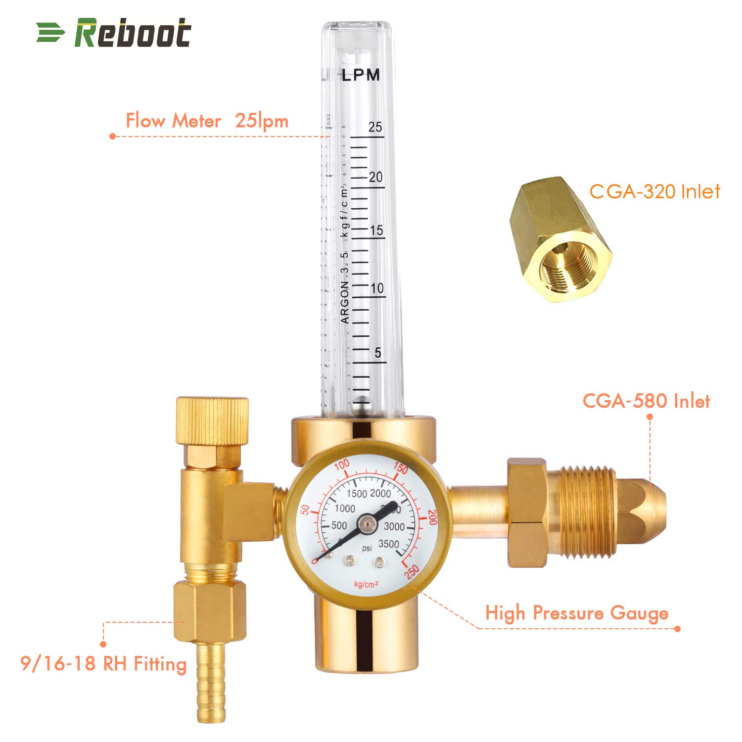 Argon Flowmeter Welding Regulator Gas Values Welding Accessory for Tig Welder Argon Regulator