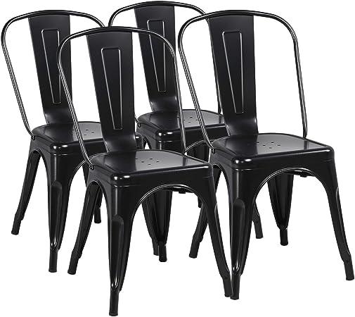 Yaheetech Lot de 4 Chaise de Salle à Manger Industrielle Chaise de Cuisine 45 cm H Empilable Tabouret avec Dossier Jardin Balcon Bistrot Café Salon