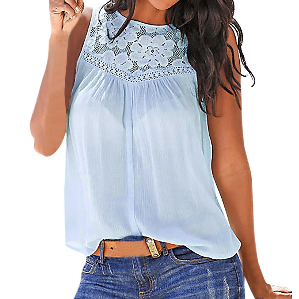 Women Top Summer,Lace Blouse Short Sleeve Vest Casual Tank T-Shirt Beachwear Tunics Tees Bikinis Blue
