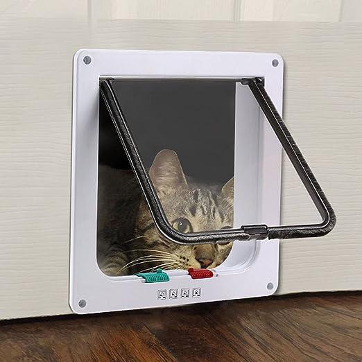 IREENUO Puerta con 4 Puertas para Gatos con Cerradura, Puerta con Cerradura para Mascotas para Gatos y Perros pequeños con armazón telescópico Instale ...