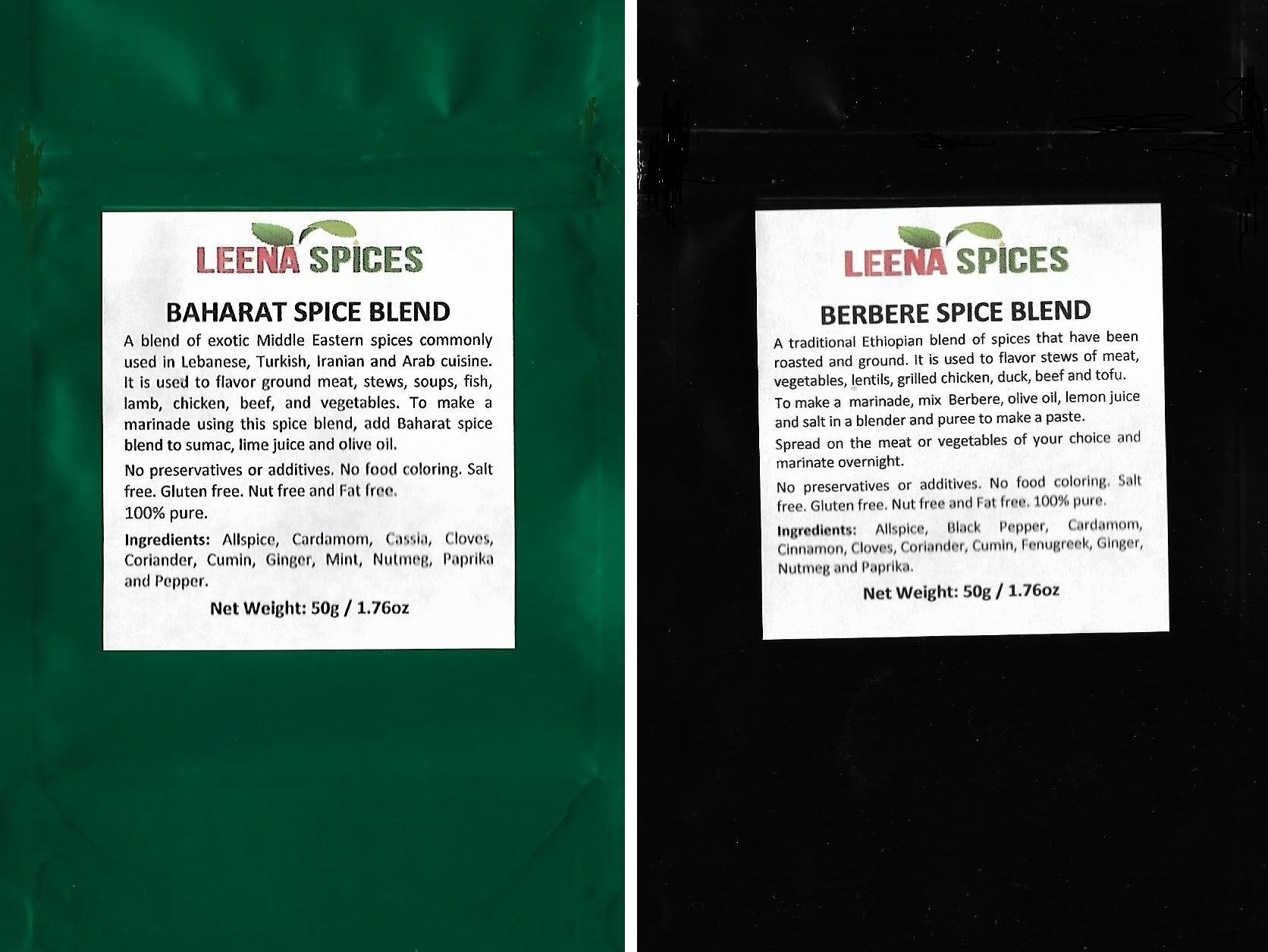 LEENA SPICES -Baharat And Berbere Spice Seasoning-Gluten Free Mild Blend-No Salt Or Food Color Mix - Delicious Persian,Turkish, Ethiopian And Arabian Flavor-Enjoy Authentic And Pure Quality Products.