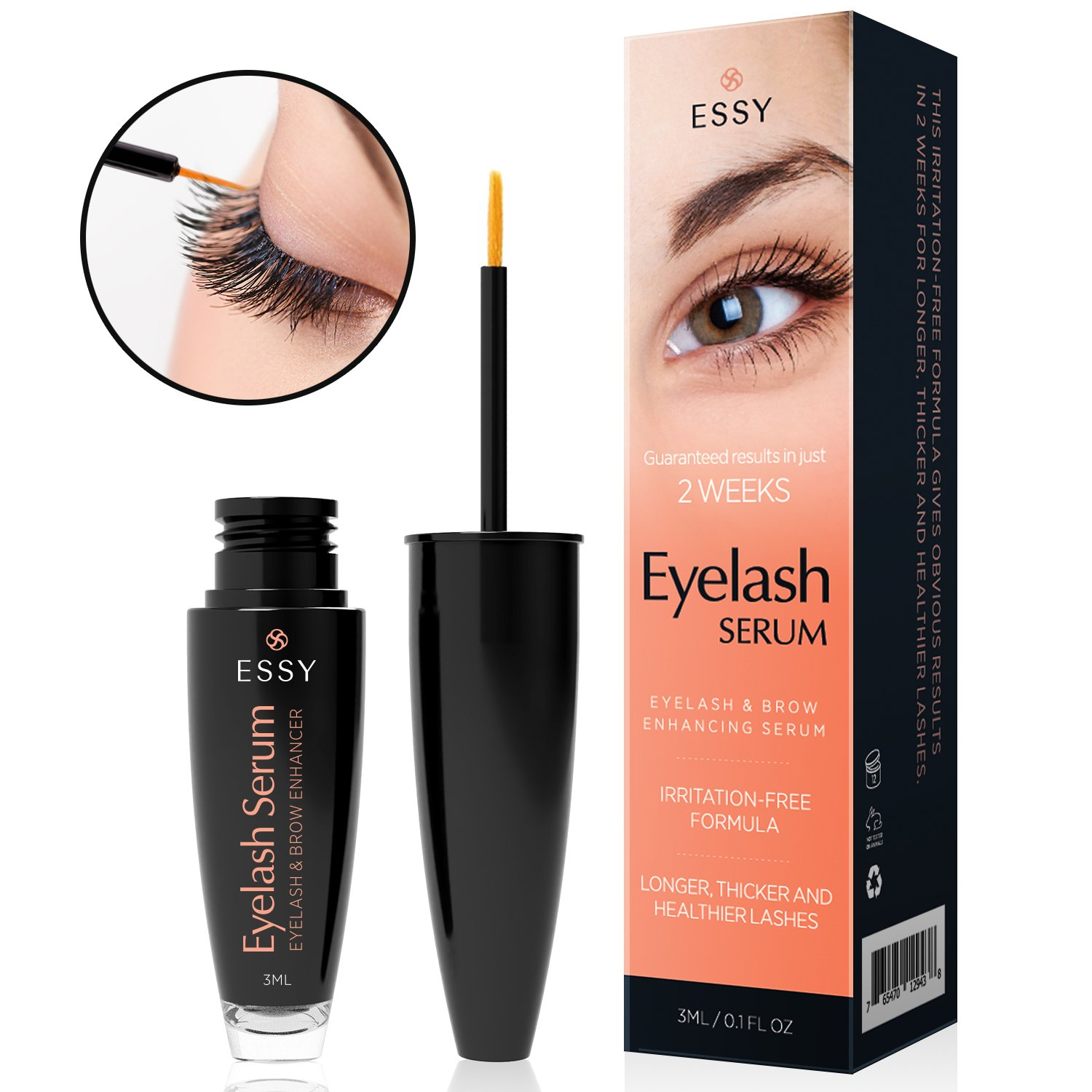 0e2d74190e1 Essy natural Eyelash Growth Enhancer & Brow Serum for Long, Luscious Lashes  and Eyebrows (3 ml): Amazon.co.uk: Beauty