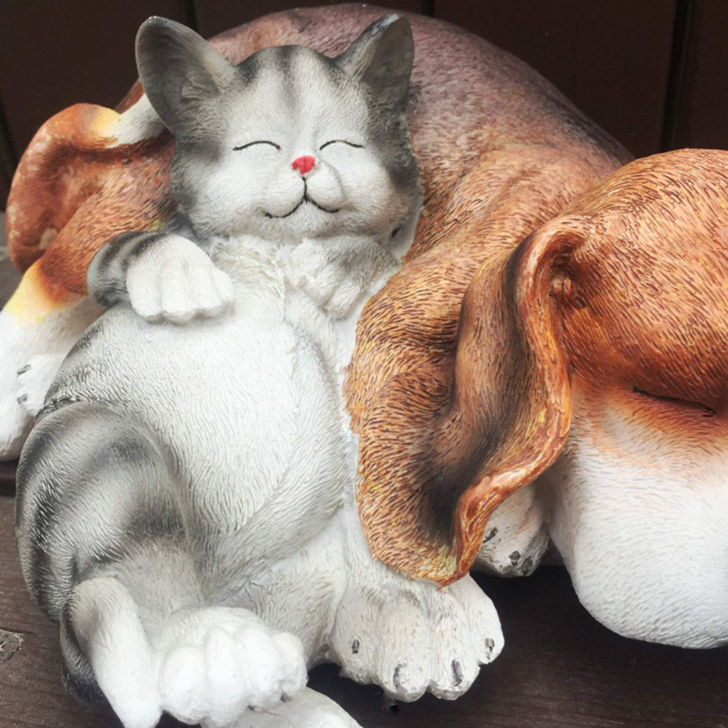 Anewgift Cats and Dogs Garden Statue Garden Statues Figurine Funny Garden Décor Outdoor Sculpture Resin Lawn Ornaments Decor - Best Indoor Outdoor Decorations for Patio Yard Office and House