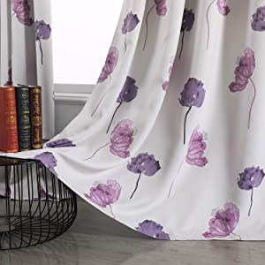 Taisier Home Floral Curtains 84 Inches Long for Living Room Dining Room Darkening Flower Print Soft Textured Grommet Window Drapes, 52 by 95Inch,Red Puple(2 Panels)