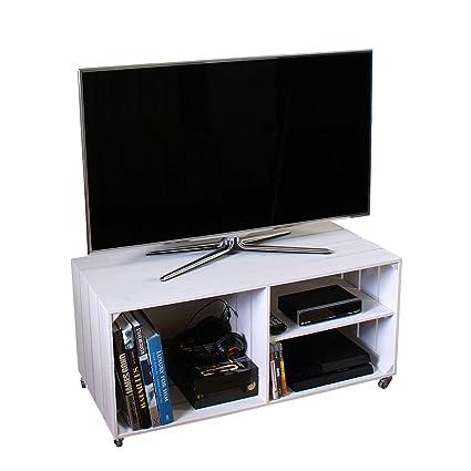 Mobili Porta Tv Stile Industriale.Liza Line Mobile Porta Tv E Stereo Basso In Legno Con 3 Vani Con