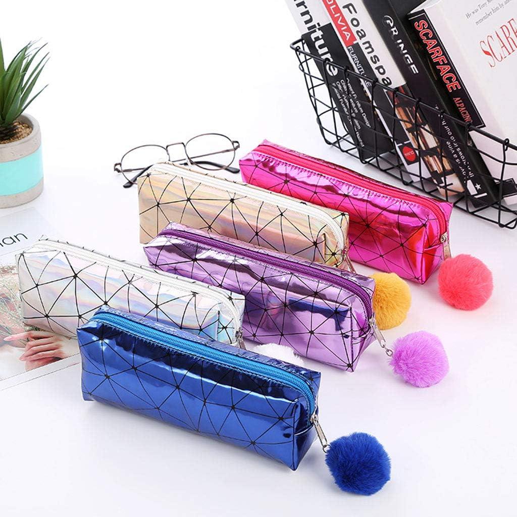 Huyiko Holographique Iridescent /Étui /À Crayon Pour Filles Bo/îte /À Crayons Mignon Hairball Crayon Sac Fournitures Scolaires Papeterie
