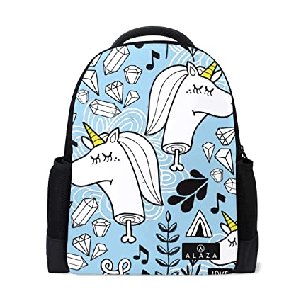 9d75763c8761 Image Unavailable. Image not available for. Color  Lightweight Blue Unicorn  Head Party Flowers Polyester Backpack School Book Bag Travel Daypack