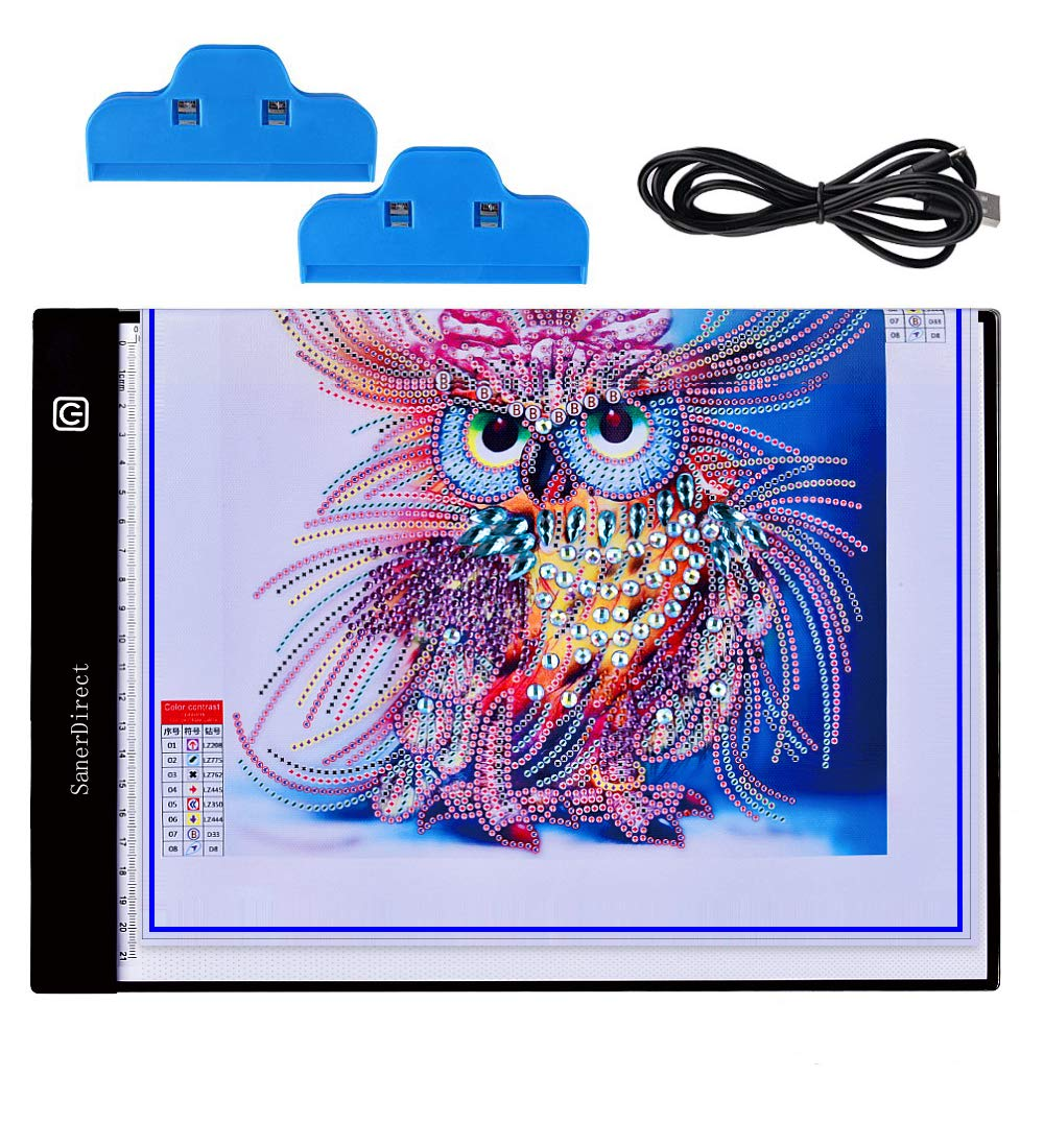 SanerDirect Diamond Painting A4 LED Light Pad, USB Powered Dimmable Light Board for Animation, Artists Drawing Sketching, Tattoo Tracing with Clips