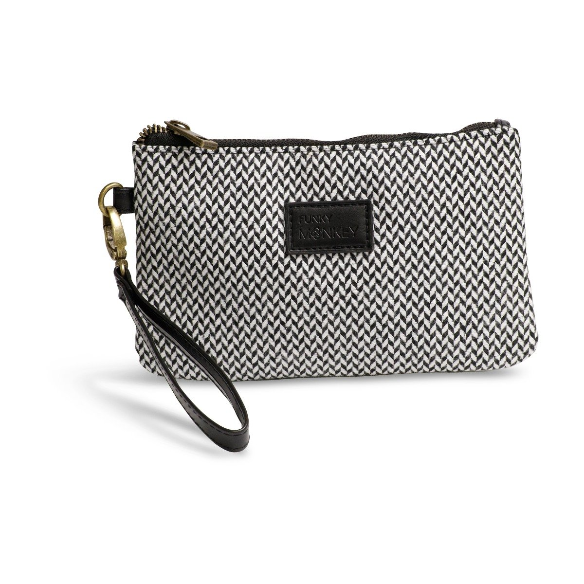 {Emily Collection} Wristlet Wallet Clutch Bag - Phone Purse Handbag - Small, Medium, Large Option - Black & White Herringbone Style - Funky Monkey Fashion (Medium)