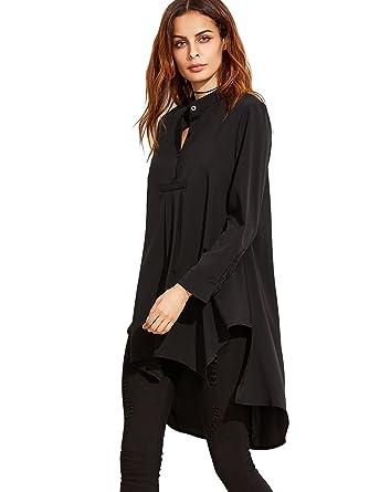 ROMWE Damen Locker Elegant Tunika Vorne Kurz Hinten Lang Langarmshirt Bluse  Schwarz S(Herstellersgröße  2d83f007ef