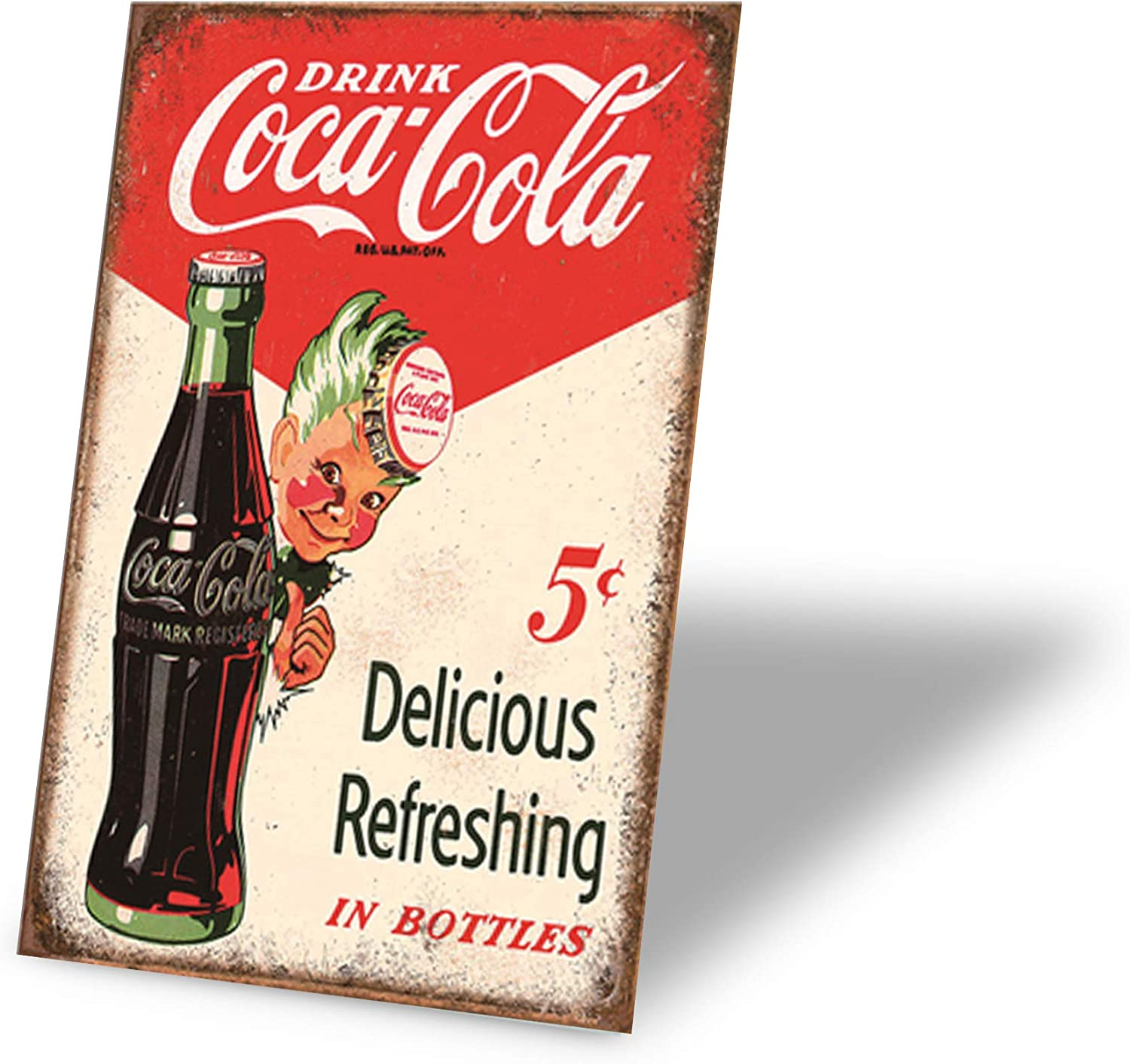 TINSIGNS Drink Coca Cola Delicious Refreshing in Bottles Retro Vintage Bar Signs Tin Sign Vintage 12 X 8 Inch