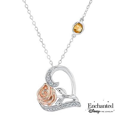 Amazon enchanted disney fine jewelry belles rose and heart enchanted disney fine jewelry belles rose and heart diamond pendant 110ctw aloadofball Gallery