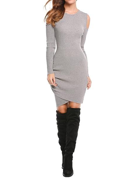 Modfine Damen Elegant Strickkleid Partykleid Minikleid Pullover Kleid Strick Figurbetontes Kleid Rundhals Langarm Schulterfrei Asymmetrisch Herbst