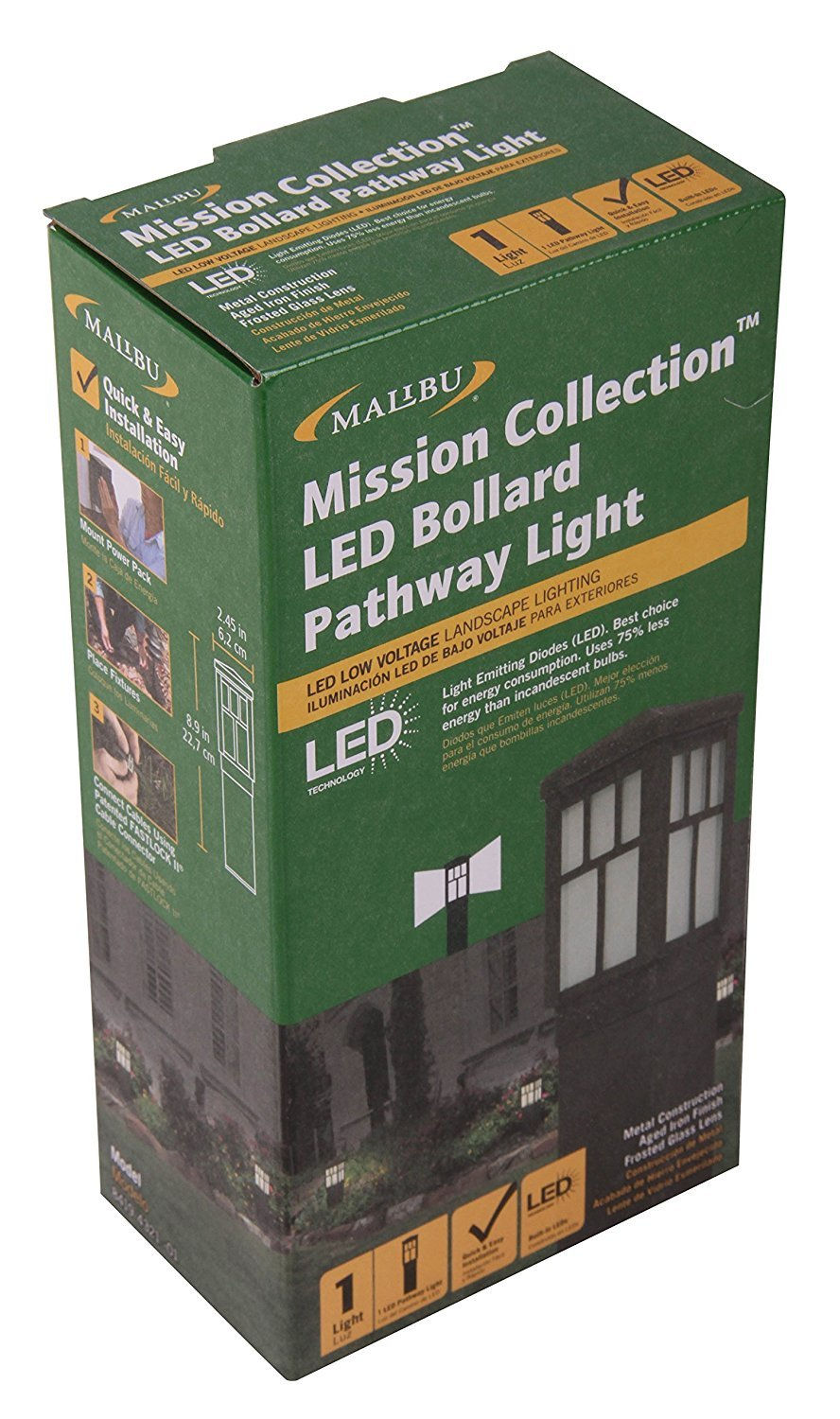 amazon com malibu mission collection led bollard pathway light led