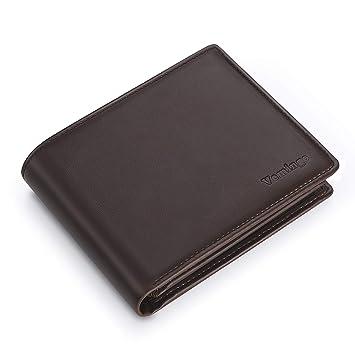 Vemingo Cartera para Hombre, Monedero con Bloqueo de RFID para Tarjetas y Bolsillo PU Frontal con Botón para Monedas, Marrón: Amazon.es: Equipaje
