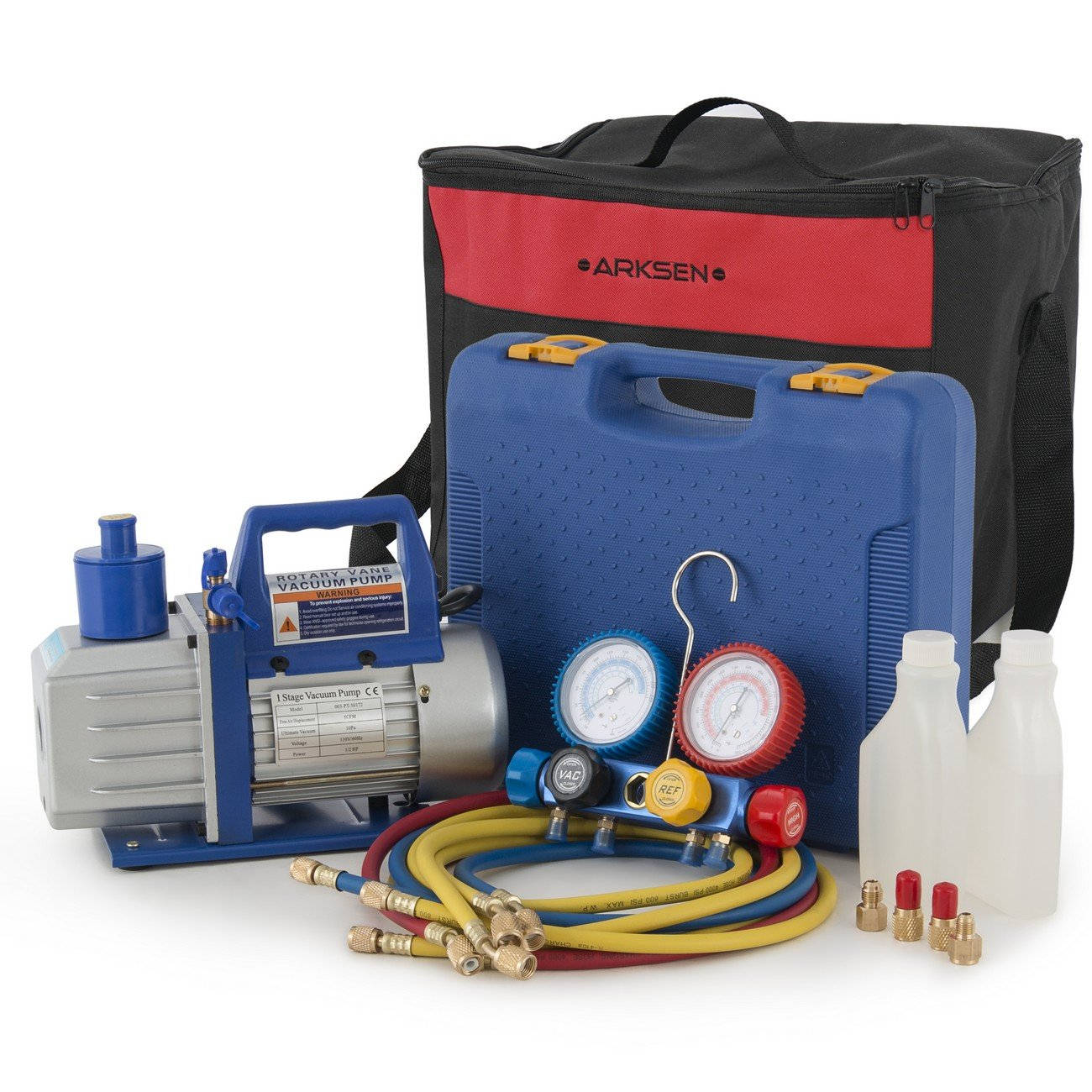 ARKSEN 1/2HP 5 CFM Vacuum Pump R404A R410A R22 Manifold Gauge Diagnostic Refrigerant w/ Carrying Tote Bag Set
