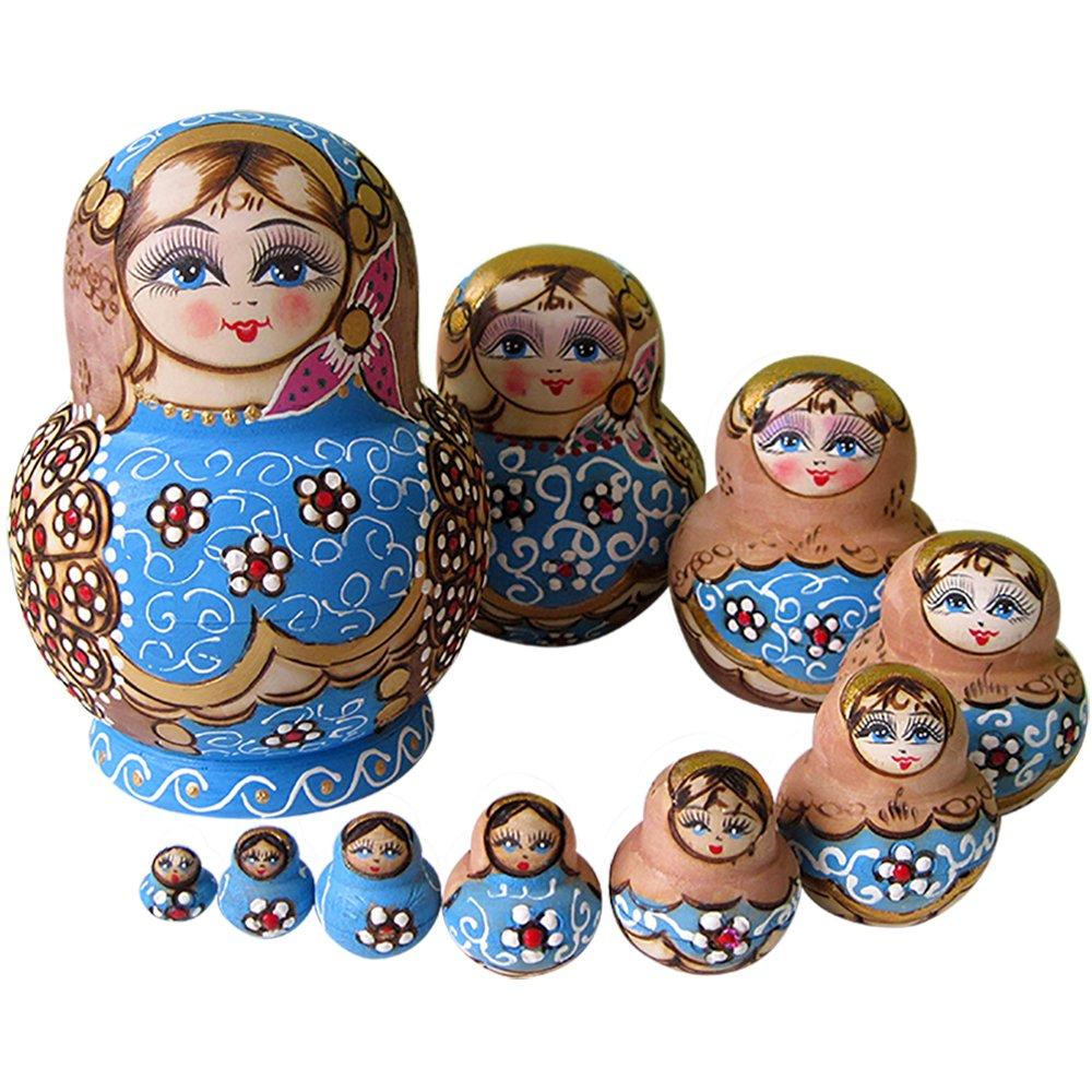 YAKELUS Marchio di Matrioska specializzato, nesting dolls Matrioske Bambola Matrioska russa in 10 pezzi, tiglio di zona frigida, regalo e giocattolo 1079