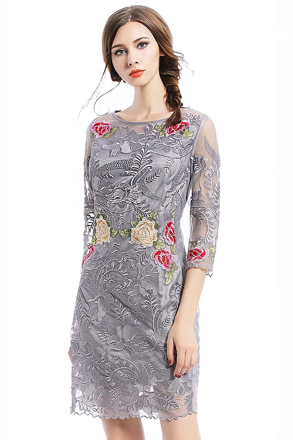 Joy EnvyLand Women Floral Sheath Cocktail Prom Party Embroidered Bodycon Dress