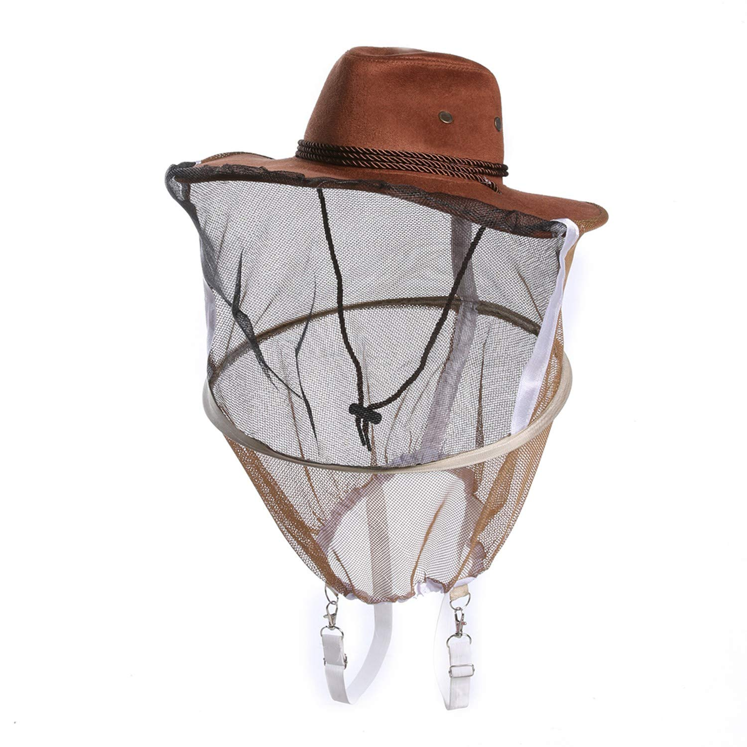 (Set of 1) - Professional Beekeeping Hat Beekeeper Cowboy Hat Anti Mosquito Bee Insect Veil Net Hat Full Face Neck Wrap Protector - One Size (B)
