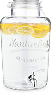 Navaris Beverage Dispenser with Spigot - 2.1 Gallon (8L) Glass Drink Jar with Stainless Steel Tap and Clip Top Lid - For Hot or Cold Drinks, Ice Water