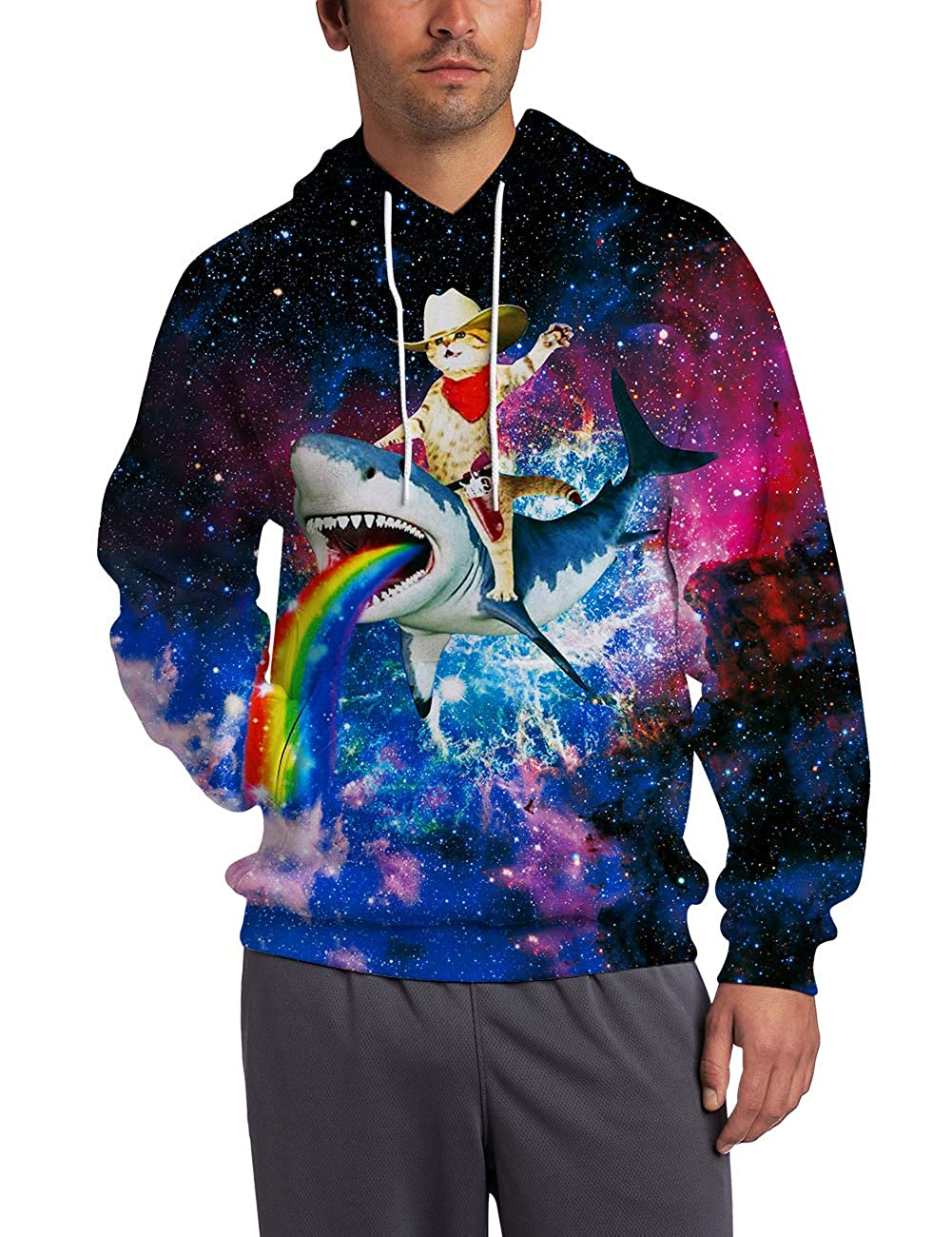Ahegao Men Women Hoodie Sweatshirt 3D Printed Novelty Galaxy Cool Casual Fleece Pullover with Big Pockets