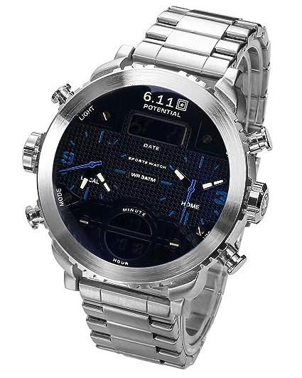 Sailine Reloj multifunción para Hombre, Doble Movimiento con 2 Zonas horarias y Correa de Acero Inoxidable, Sumergible hasta 30 m: Amazon.es: Relojes