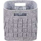 Handmade Foldable Baby Toy Book Snacks Organizer Storage Basket Multifunctional Collapsible Felt Storage Bin Container with Handle Light Grey