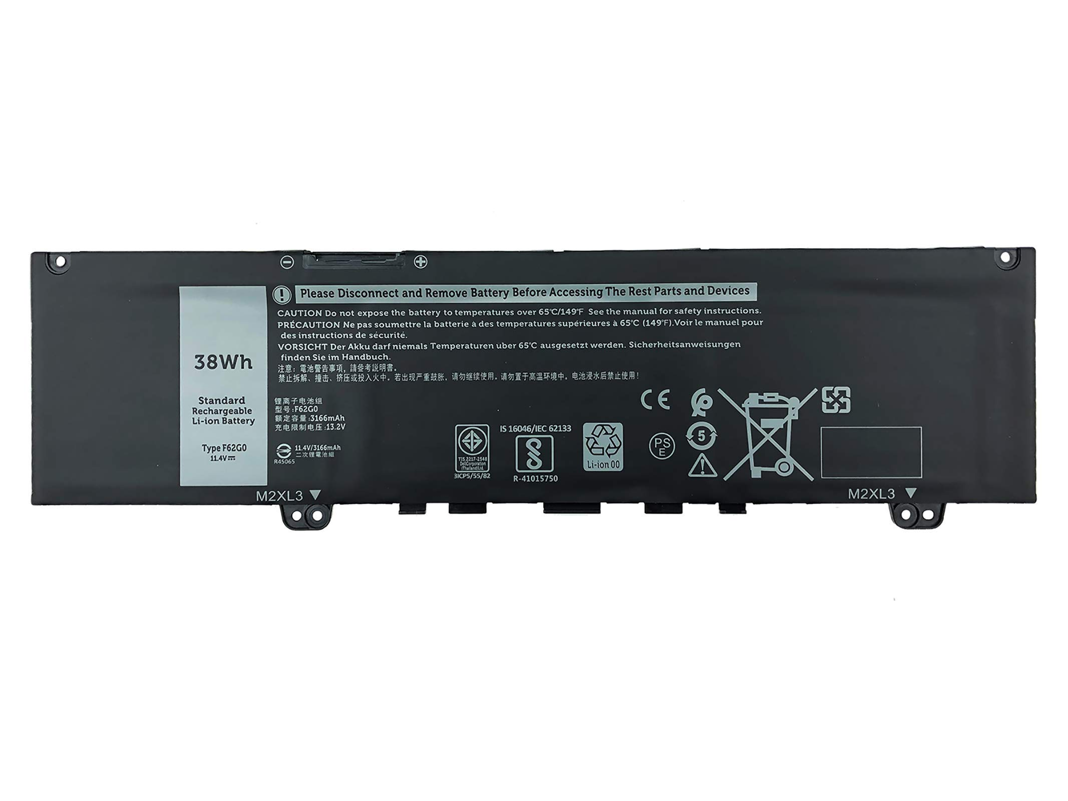 EBKK 38Wh F62G0 Battery for Dell Inspiron 13 5370 7373 7370 7380 7386 2-in-1 P83G P83G001 P83G002 P87G001 P83G002 P87G Vostro 13-5370-D1505G R1605S D1525S D1605S Series F62GO CHA01 RPJC3 39DY5