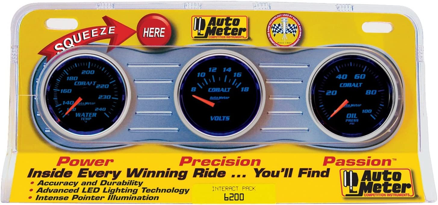 Auto Meter 6200 Cobalt Mechanical Three Gauge Interact Pack