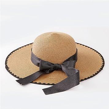 1b842f0f47f5a Amazon.com  Gaojuan Bow-Knot Wave Pattern Straw Hat New Summer ...