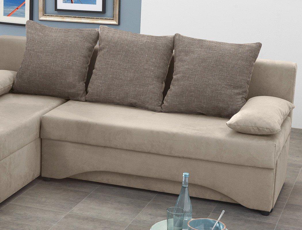 Künstlerisch Schlafsofa Ecksofa Dekoration Von Pollux 191x142cm Schlamm Grau-braun Mikrofaser Couch Polstereckesofa