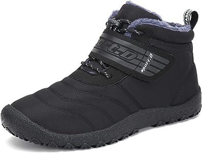 SAGUARO Herren Damen Winterschuhe Warm Gefüttert Stiefel Kurz Winter Boots Schneestiefel Outdoor Freizeit Schuhe,Schwarz 40