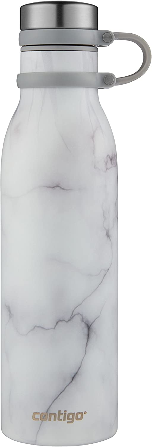 Contigo Couture Vacuum-Insulated Stainless Steel Water Bottle, 20 oz, White Marble