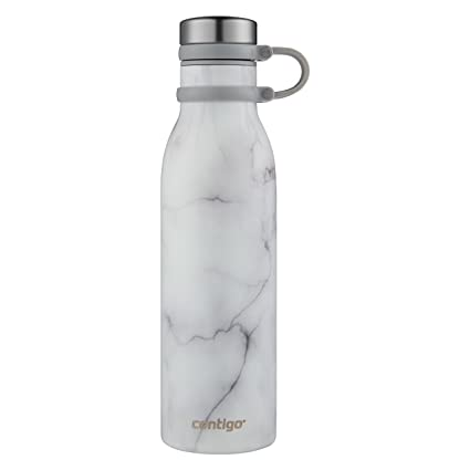 ce512cda Amazon.com | Contigo Couture Vacuum-Insulated Stainless Steel Water Bottle,  20 oz, White Marble: Tumblers & Water Glasses