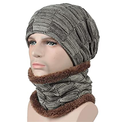 ad52ba635a6 Amazon.com  EnjoCho Clearance Sale! 2PCS Unisex Men Women Winter Beanie Hat  Scarf Set Warm Knitted Cap with Scarf (Beige-3)  Office Products